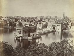 Golden Temple in which Grunth is kept. The 4 pinnacles cased with thin gold plates presented by Rajas of Patiala, Jheend [and] Nabha